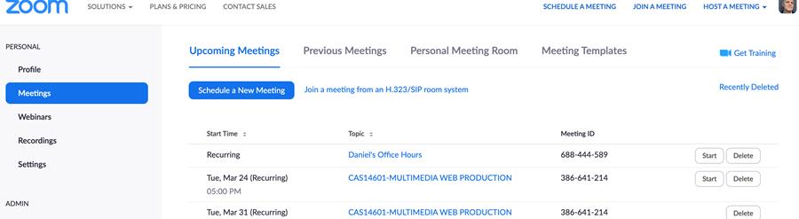 Zoom Meetings Page